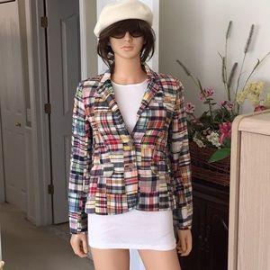 J. Crew 100% cotton plaid blazer